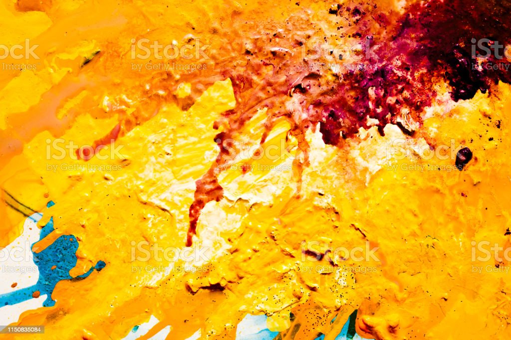 Abstract red yellow paint background. Color fluid mix flowing....