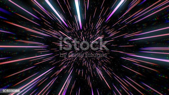 istock Abstract retro color of warp or hyperspace motion in blue star trail 3d illustration 928556988