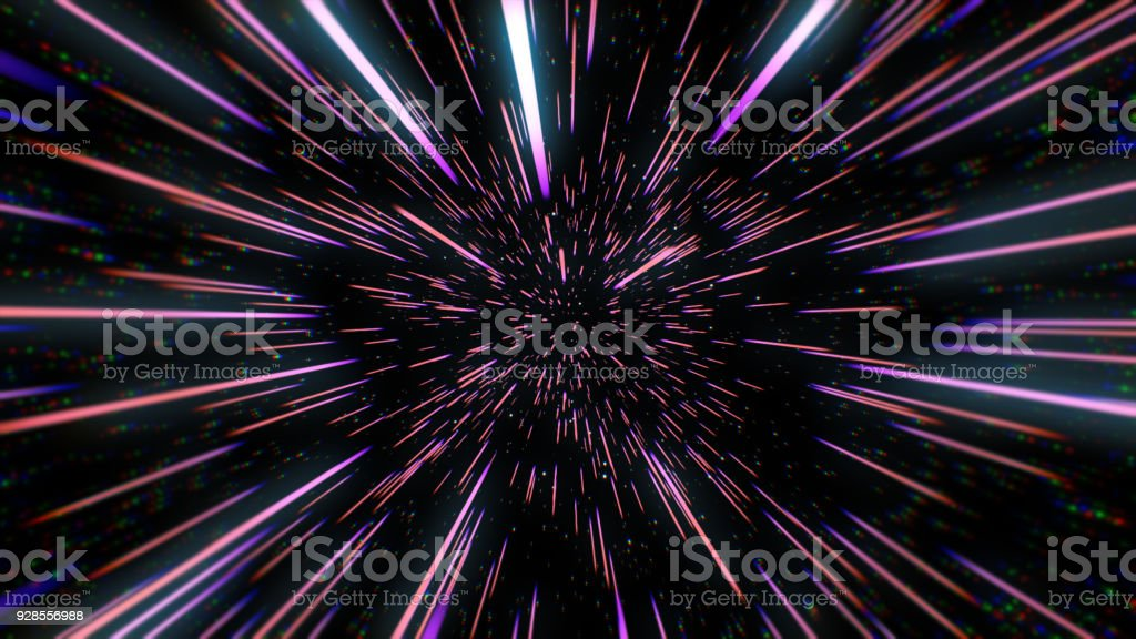 Abstract retro color of warp or hyperspace motion in blue star trail 3d illustration stock photo
