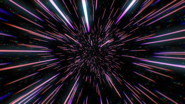 블루 스타 트레일 3d 그림에서 워프 또는 하이퍼스페이스 모션의 추상 복고풍 색상 - 은하수 뉴스 사진 이미지