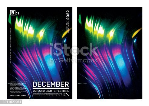istock Abstract Retro Futuristic Poster Template With Vibrant Liquify Background. 1211622061