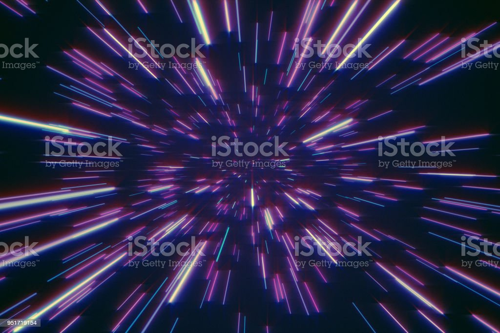 Abstract retro of warp or hyperspace motion in blue purple star trail 3d illustration stock photo