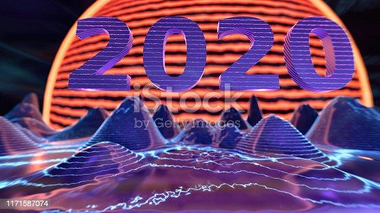 istock Abstract retro sci fi poster 2020 1171587074