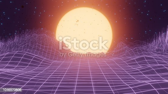 istock Abstract retro SciFi background 1046570806