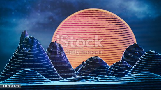 istock Abstract retro SciFi background 1168611780