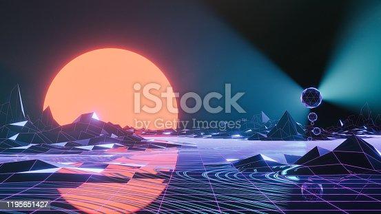 istock Abstract retro SciFi background 1195651427