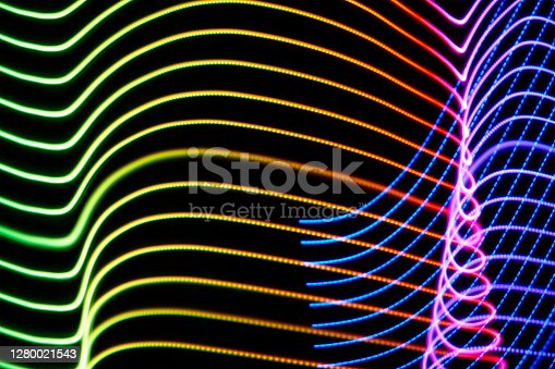 Abstract RGB led light painting trails background