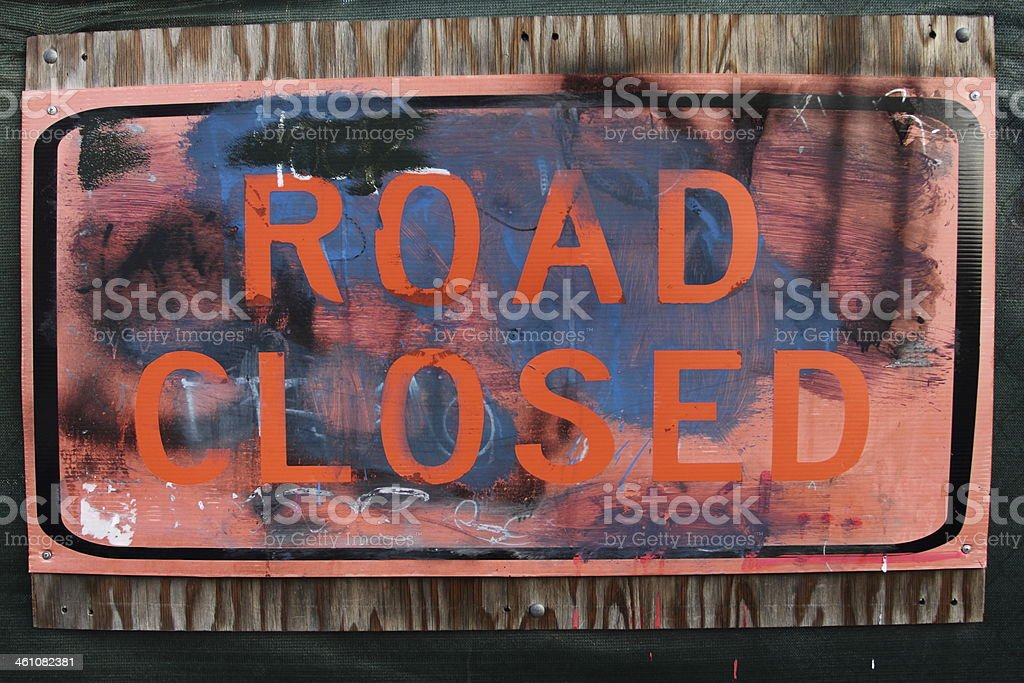 abstract road closed sign royalty-free stock photo