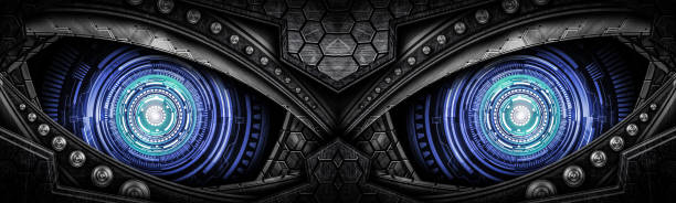 abstract robot eye background - transformers stock photos and pictures