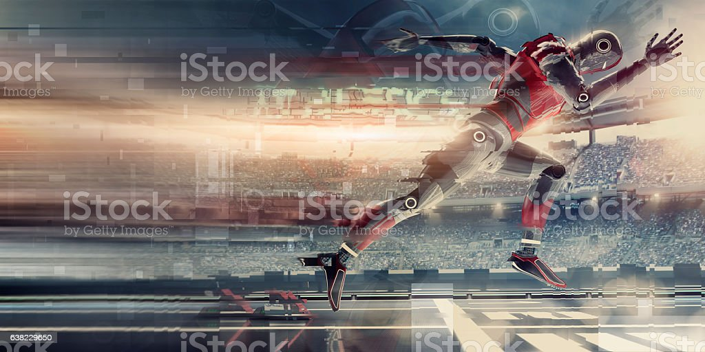Abstract Robot Sprinting Athlete Bursting From Starting Blocks In Stadium stock photo
