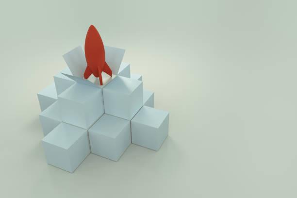 modelo de cohete abstracto con la caja de cubos - foto de stock