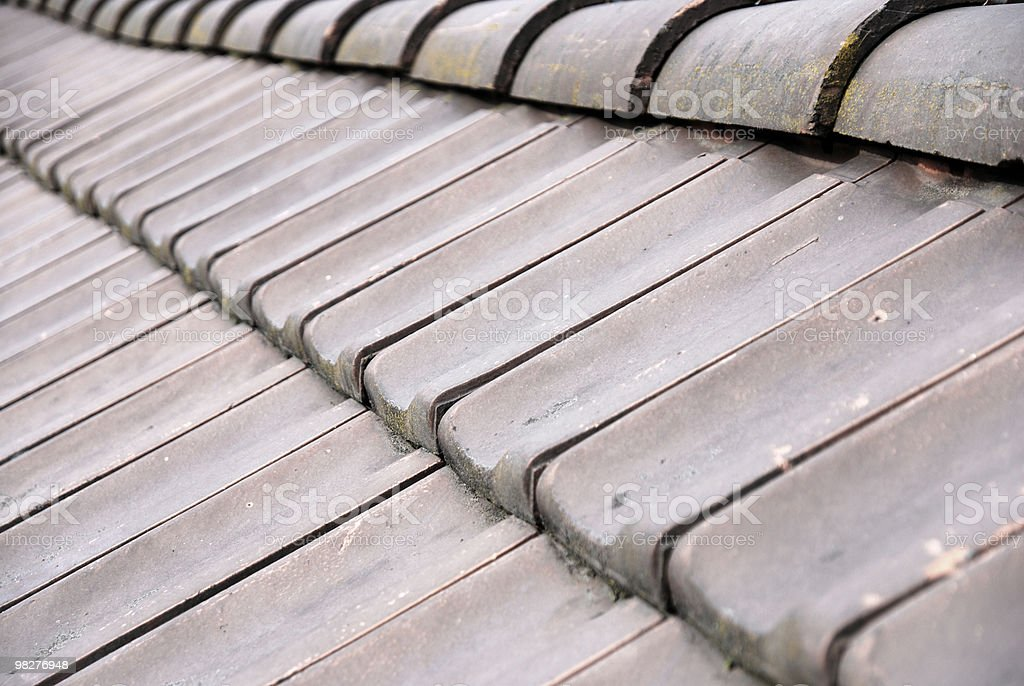 abstract roof detail with brown bricks royalty-free stock photo