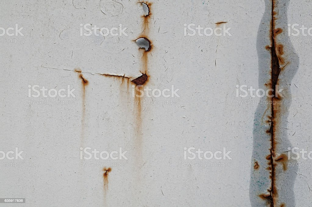 Abstract rusted white metallic grey wall. stock photo