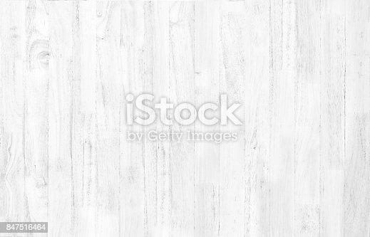 istock Abstract rustic surface white wood table texture background. Close up of rustic wall made of white wood table planks texture. Rustic white wood table texture background empty template for your design. 847516464
