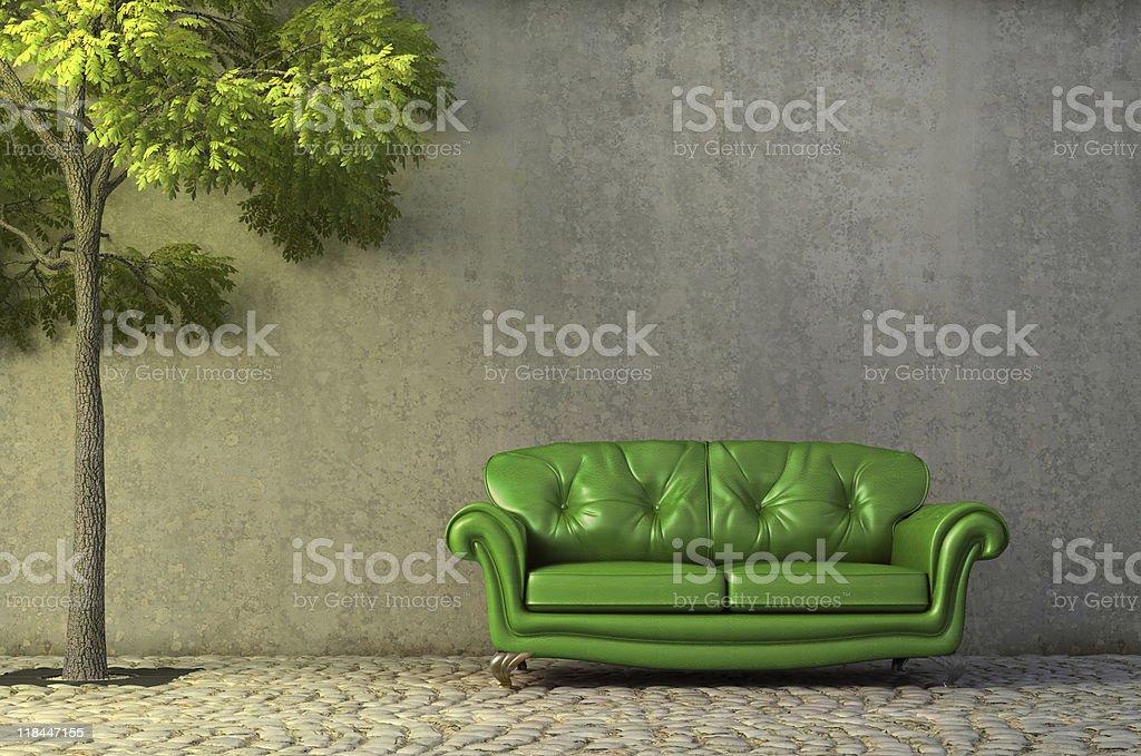 Abstrakte Szene mit Sofa auf Seite gehen – Foto