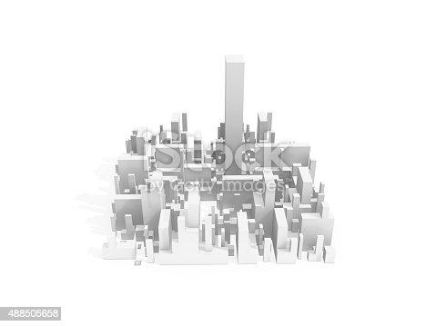 istock Abstract schematic white 3d cityscape quarter 488505658