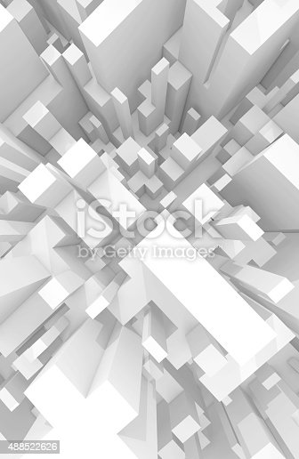 istock Abstract schematic white 3d cityscape, top view 488522626