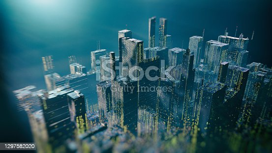 Abstract retro Sci Fi styled city with hologram elements  - 3d rendered image with lines and digital design. Digital skyscrapers with wire texture. Perspective architecture background. Technology future concept.  Retro style. Block chain element concept.