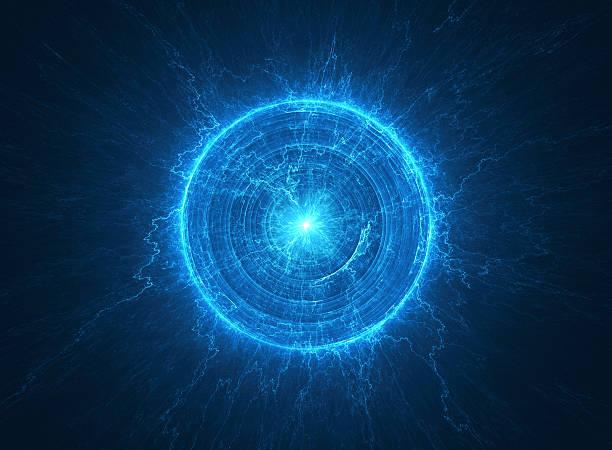 abstract science background electromagnetic field - tesla coil - teleport bildbanksfoton och bilder