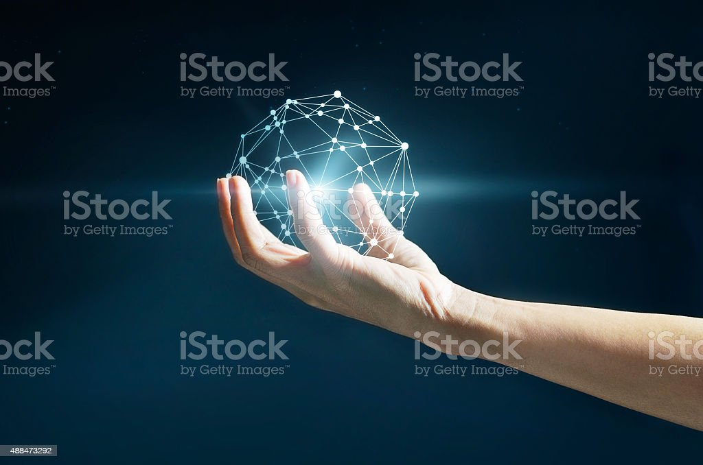 Abstract science, circle global network connection in hand stock photo