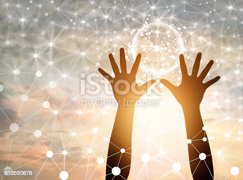 istock Abstract science, circle global network connection in hands 613550676