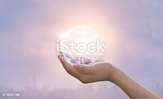 istock Abstract science, circle global network connection in hands 613552766