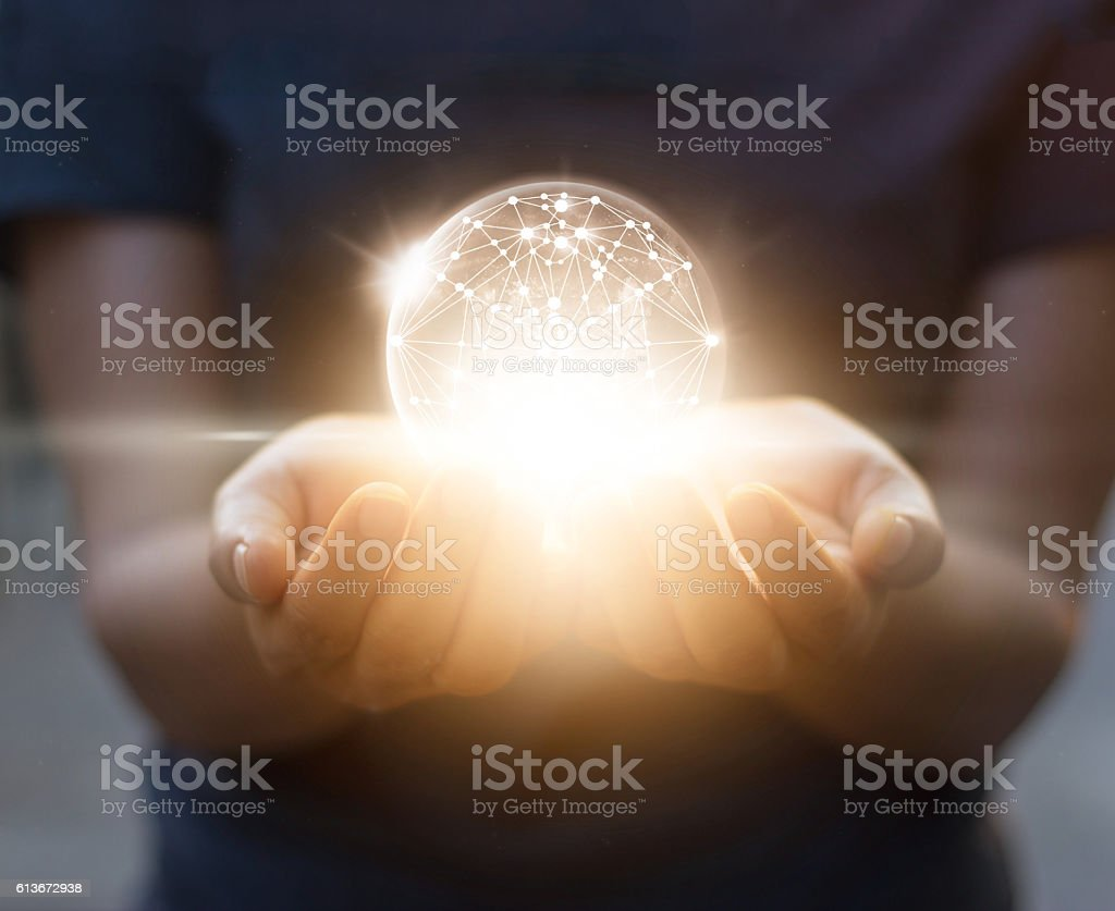 Abstract science, circle global network connection in hands stock photo