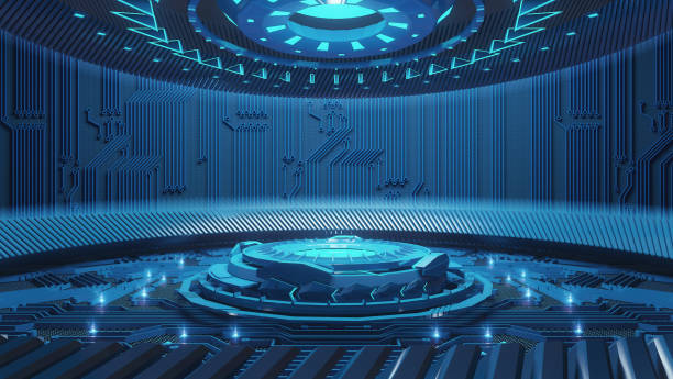 abstract science fiction futuristic background - hologram stock photos and pictures