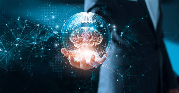 abstract science. network and innovation. businessman holding brain in circle global network connection communication and data exchanges worldwide on modern interface background. networking and technology concept - human nervous system stock photos and pictures