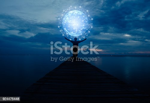 istock Abstract science,global network connection 924475448