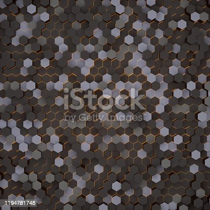 1003112136 istock photo Abstract sci-fi futuristic surface hexagon 3d rendering background.Geometric shape technology digital hi tech concept 1194781748