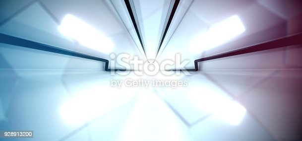 967676748 istock photo Abstract Sci-fi Technology Tunnel With Bright Lights 928913200