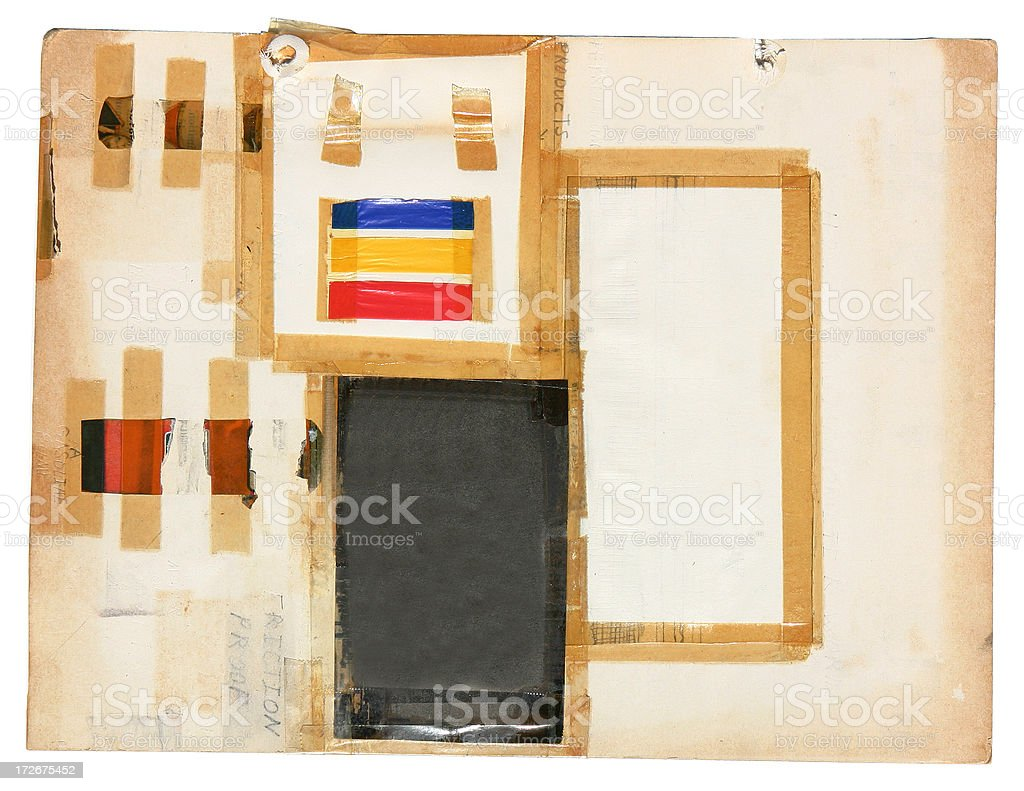 Abstract Scrap Paper with Tape Decay royalty-free stock photo