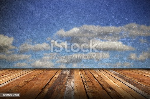 677933036 istock photo abstract scratched backdrop with wood terrace 485586893