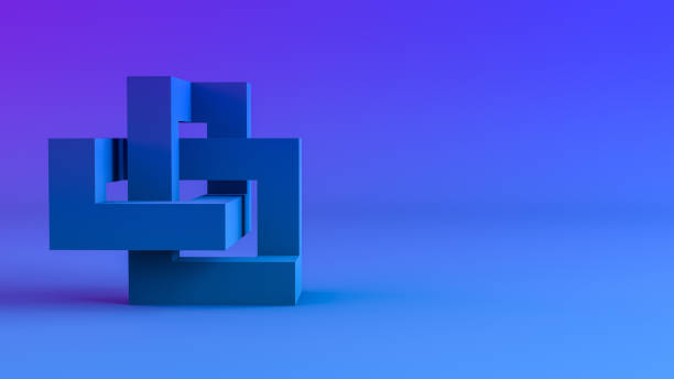 3D Abstract Sculptural Geometric Shapes Background - foto stock