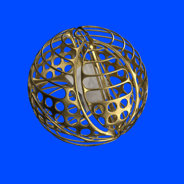 Abstract sculptural object with sphere stock photo