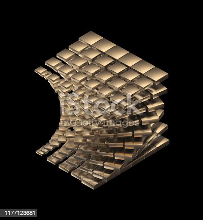 175960311 istock photo Abstract Sculpture On Black Background 1177123681