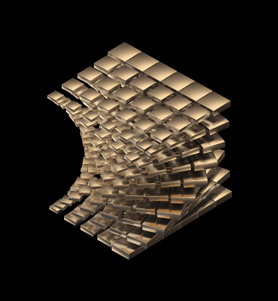 Digitally generated abstract sculptural object with a golden shiny surface.