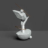 Abstract sculpture stone textured, balance concept, hand statue holds geometric museum piece elements, still life 3d rendering