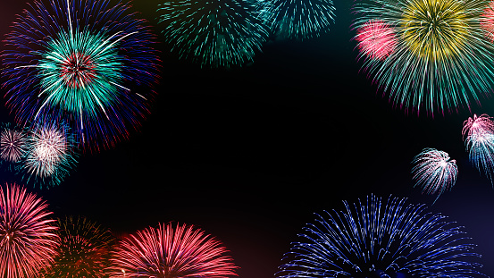 Abstract set colored firework background with free copy space for text. Colorful celebration and anniversary concept for your design.