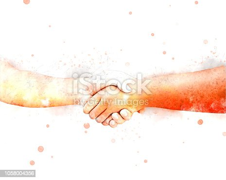 istock Abstract shake hand watercolor illustration painting background. 1058004356