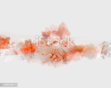 istock Abstract shake hand watercolor illustration painting background. 1058005616