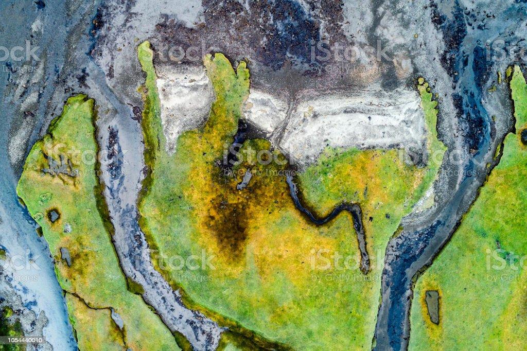 Abstrakte Form des Ufers Fjord in Island, Luftbild – Foto