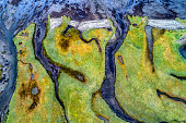 Abstract shape of the fjord shore with rivers and streams in Snaefellsnes Peninsula, Iceland, aerial view.
