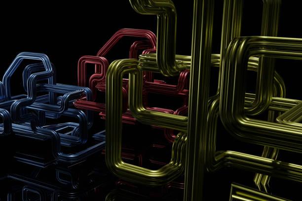 Abstrakte Form von Rohr oder Rohr auf dunklem Hintergrund. – Foto
