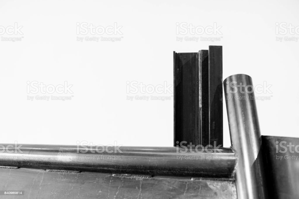 abstract sheet metal and steel tubes stock photo