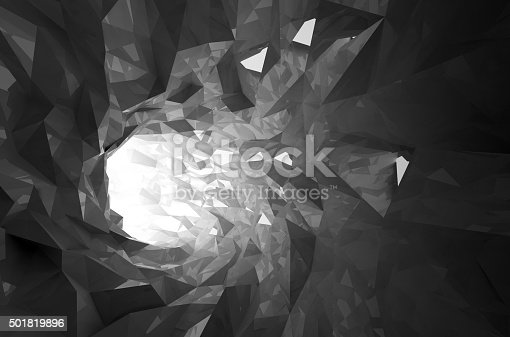 859156600 istock photo Abstract shining black crystal digital tunnel 3d 501819896