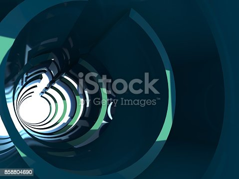 859156600 istock photo Abstract shining tunnel interior, 3 d render 858804690