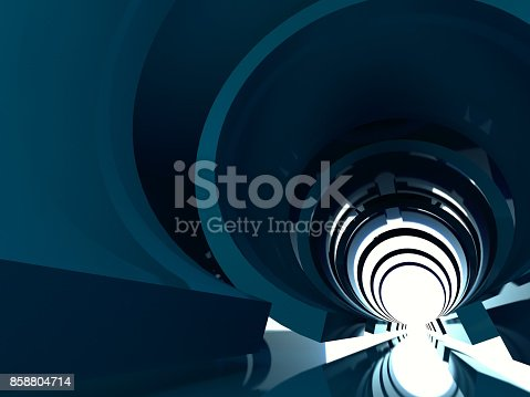 859156600 istock photo Abstract shining tunnel interior 3d render 858804714