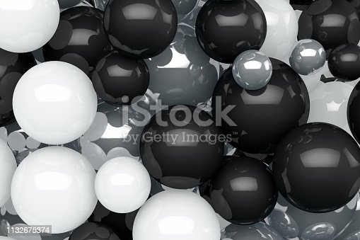 istock 3D Abstract Shiny Black and White Color Sphere Background 1132675374